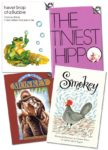 Four small books, Never Snap at a Bubble, The Tiniest Hippo, Little Brown Monkey and Smokey