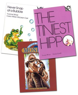 Three small book, Never Snap at a Bubble, The Tiniest Hippo and Little Brown Monkey